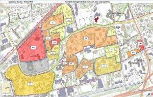 Nombre de logements à l'hectare (par copropriété) Cliquer sur la carte pour l'agrandir.
